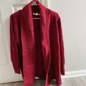 Raspberry chenille cardigan